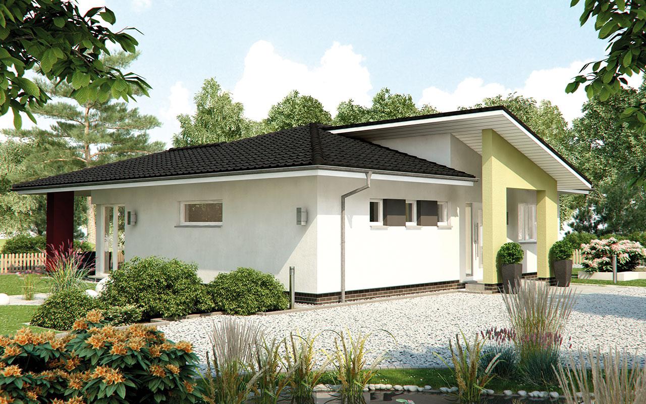 Weißer Bungalow mit Vordach und Garten