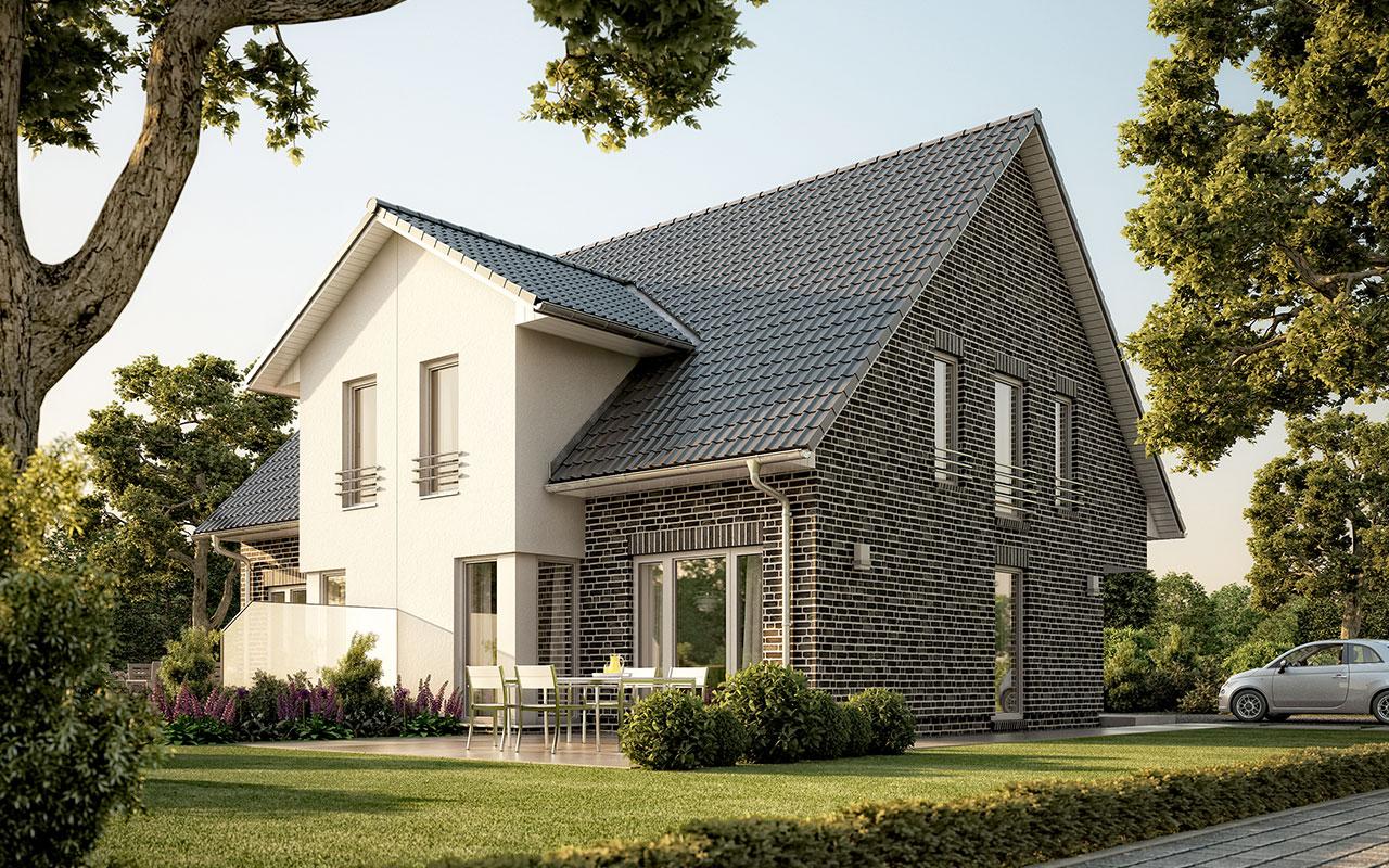 Doppelhaus mit Garten und schwarzem Dach