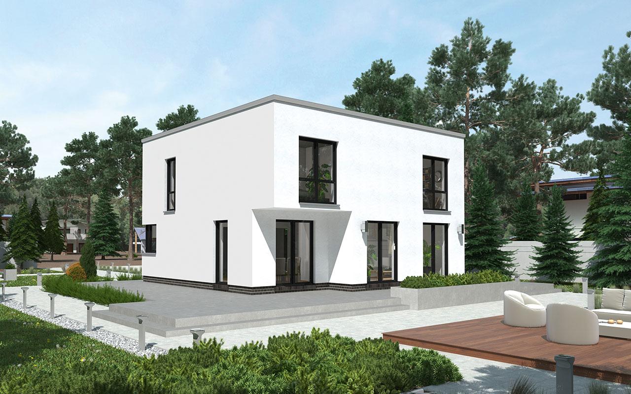 Weißes Flachdachhaus mit großem Außenbereich