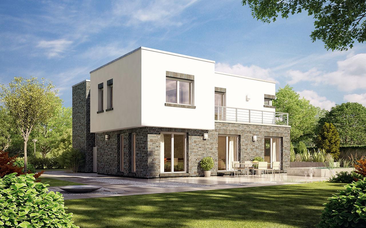 Flachdachhaus mit Garten und Balkon