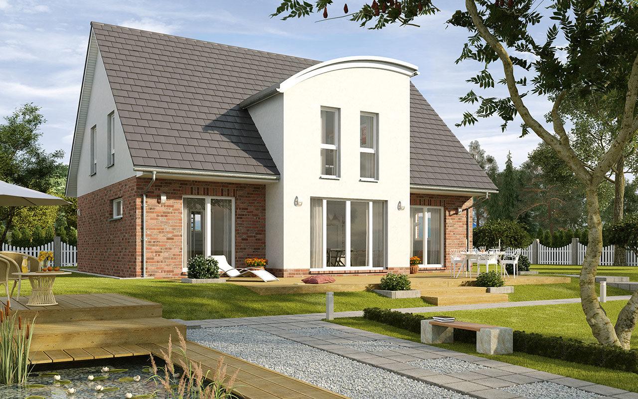 Herrenhausgiebel mit Fassadenmix und großzügigem Garten