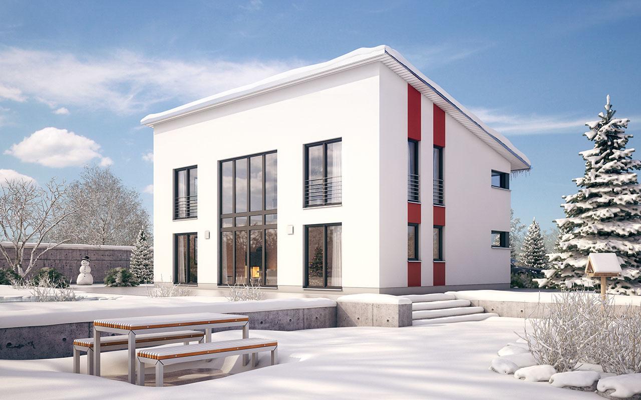Weißes Pultdachhaus mit roten Akzenten und großen Fenstern