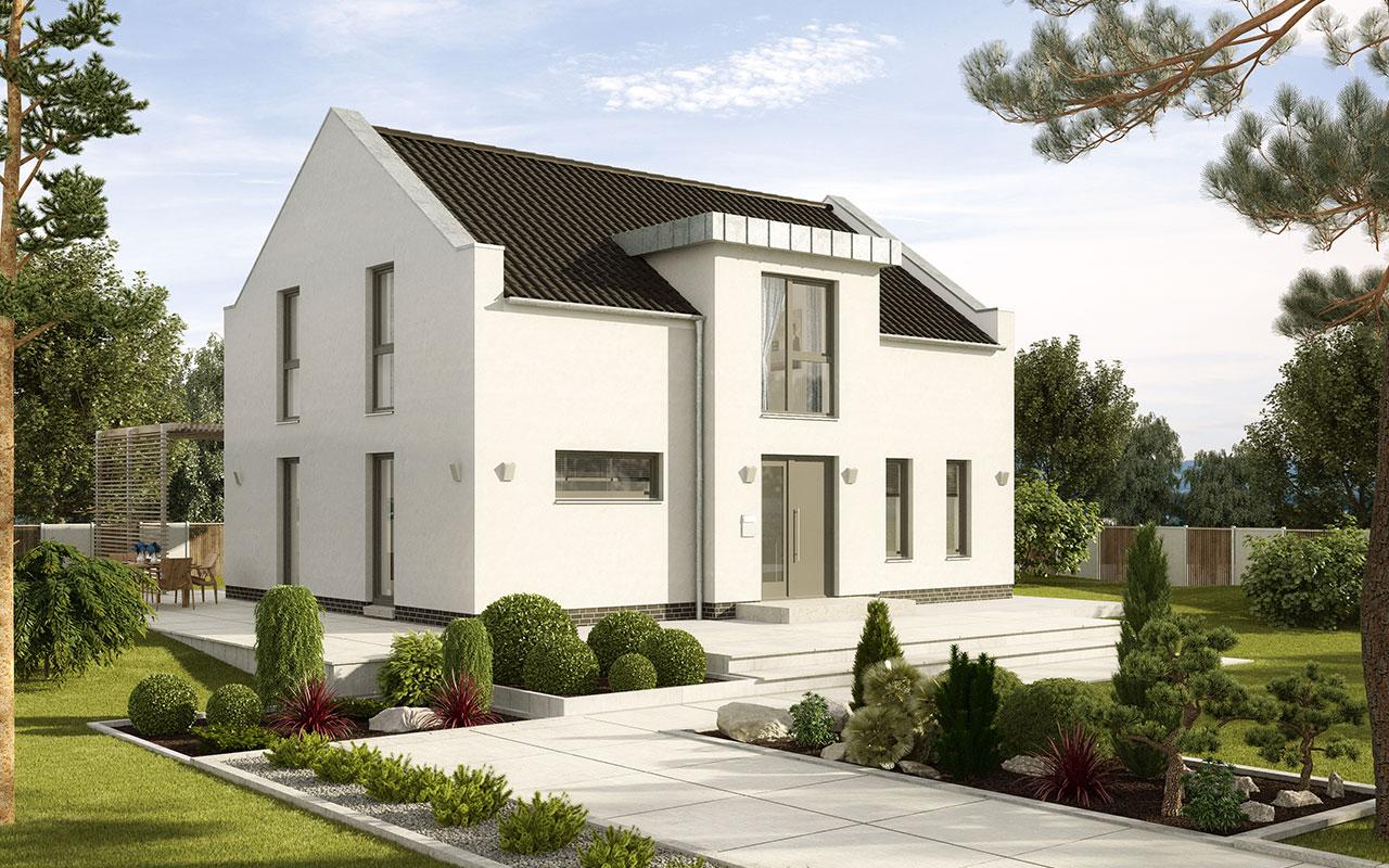 Modernes Satteldachhaus mit schwarzem Dach