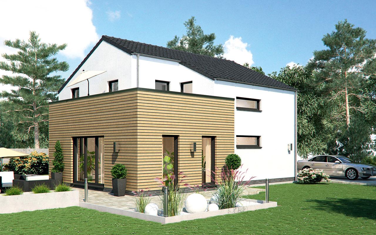Satteldachhaus mit Fassadenmix und Garten
